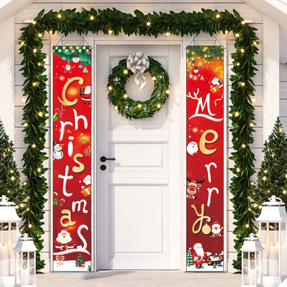 Outdoor Christmas Decorations for Home - Modern Farmhouse Christmas Decor - Red Porch Signs - Rustic Xmas Banner for Indoor Outside Front Door Living Room Kitchen Wall Party (Merry Christmas)