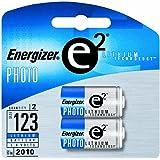 Energizer E2 Lithium Photo Battery, 123, 3V, 2/Pack