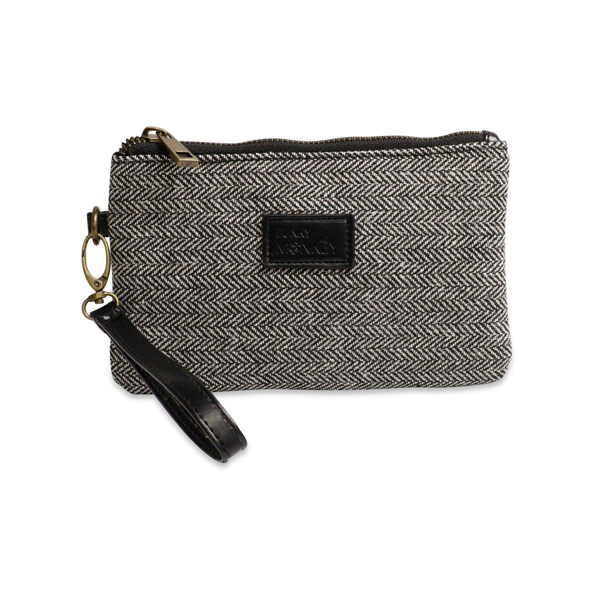 {Anna Collection} Wristlet Wallet Clutch Bag {small, medium, large}- Phone Purse Handbag - Size- Black & White Horizontal Herringbone Style - Funky Monkey Fashion (Medium)