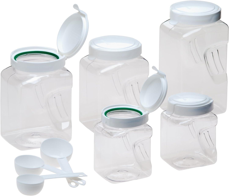 Snapware 60002BXS Square Grip 10-Piece Airtight Dry-Food Canister Set
