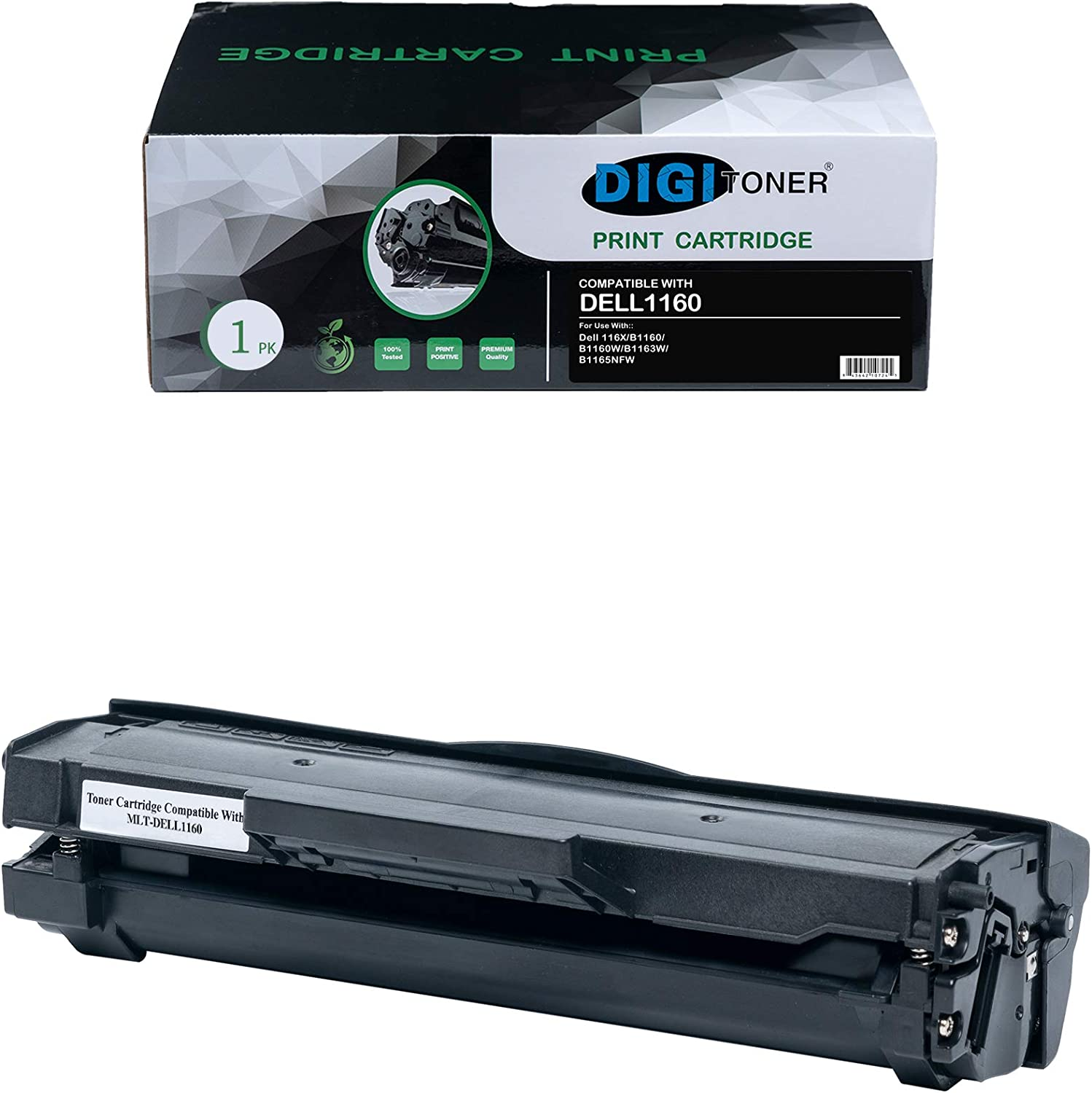 DIGITONER Compatible DELL1160 DELL B1160 DELL1165 dell 1160 Toner Cartridge – Replacement for Part Numbers 331-7335. YK1PM, HF442 for imageCLASS Dell 1160 B1160 B1160W B1163w B1165nfw– Black [1 Pack]