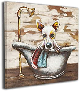 Colla Rustic Cute Dog in A Bathtub On Vintage Wood Texture Bathroom Decor Wall Art Dog Artwork Pictures Contemporary Home Decorations Framed Ready to Hang 12x12 Inches