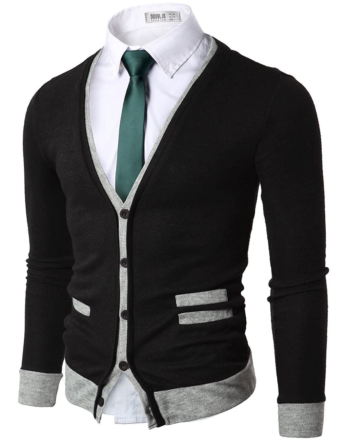 Doublju Mens Sweater Cardigan with Pocket Detail