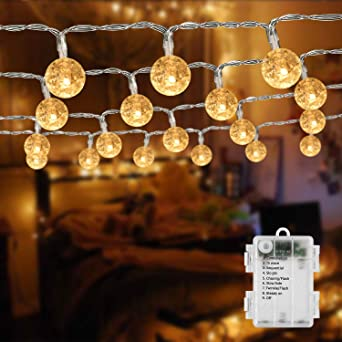 BrizLabs Cadena de Luces bolas Blanco Cálido 50 LED con Pilas 5M Impermeable 8 Modos Guirnaldas Luces LED Decoracion para Exterior, Interior, Jardín, Casa, Boda, Fiesta, Navidad: Amazon.es: Iluminación