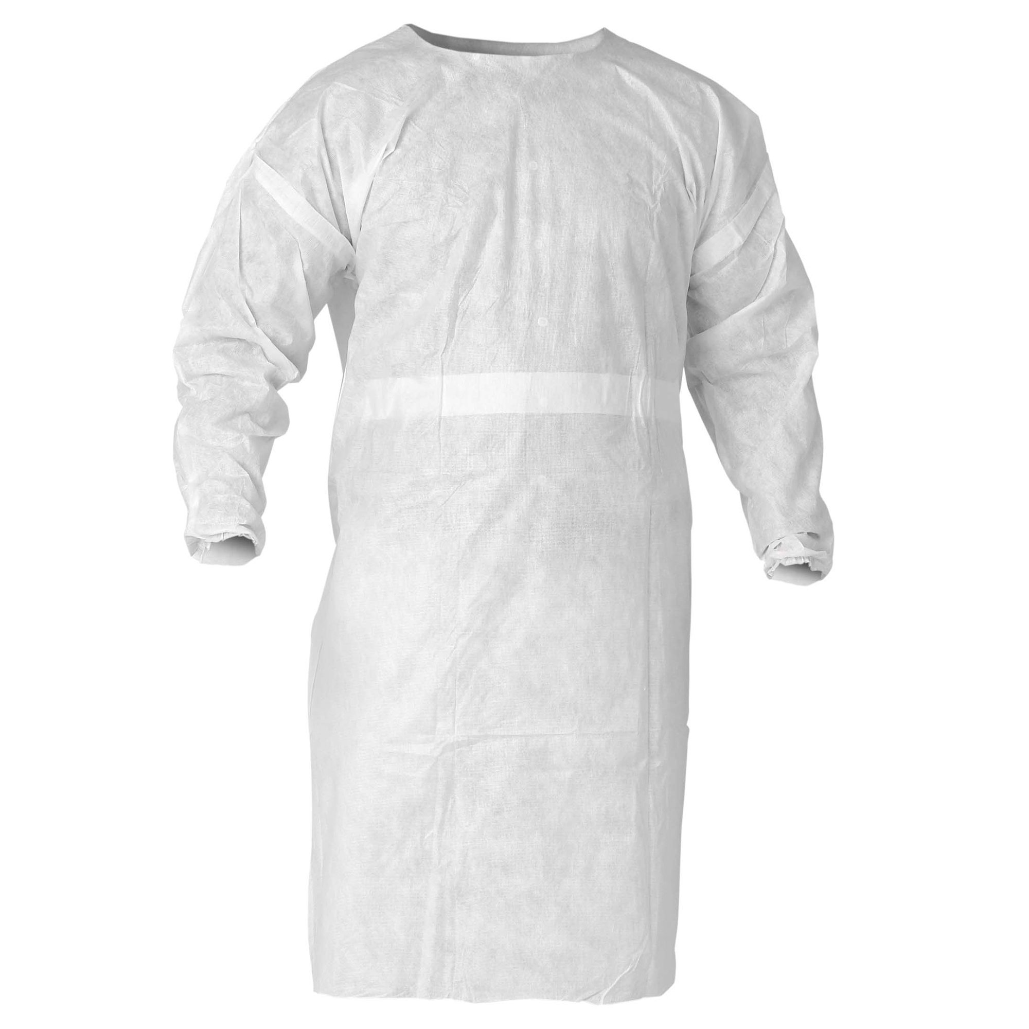 Kleenguard A20 Breathable Particle Protection Smocks (36150), Sonic Seams, Tie Closure, Elastic Wrists, White, Universal Size, 60 / Case