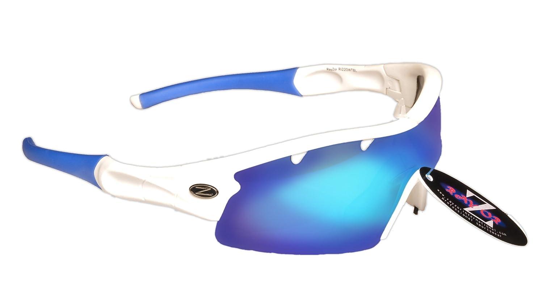 Rayzor Professionelle Leichte UV400 Red Sports Wrap Schifahren Sonnenbrille, Mit einer 1 Stück Geräuchertes Mirrored Blend Lens.