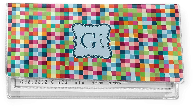 Personalized Retro Pixel Squares Vinyl Checkbook Cover