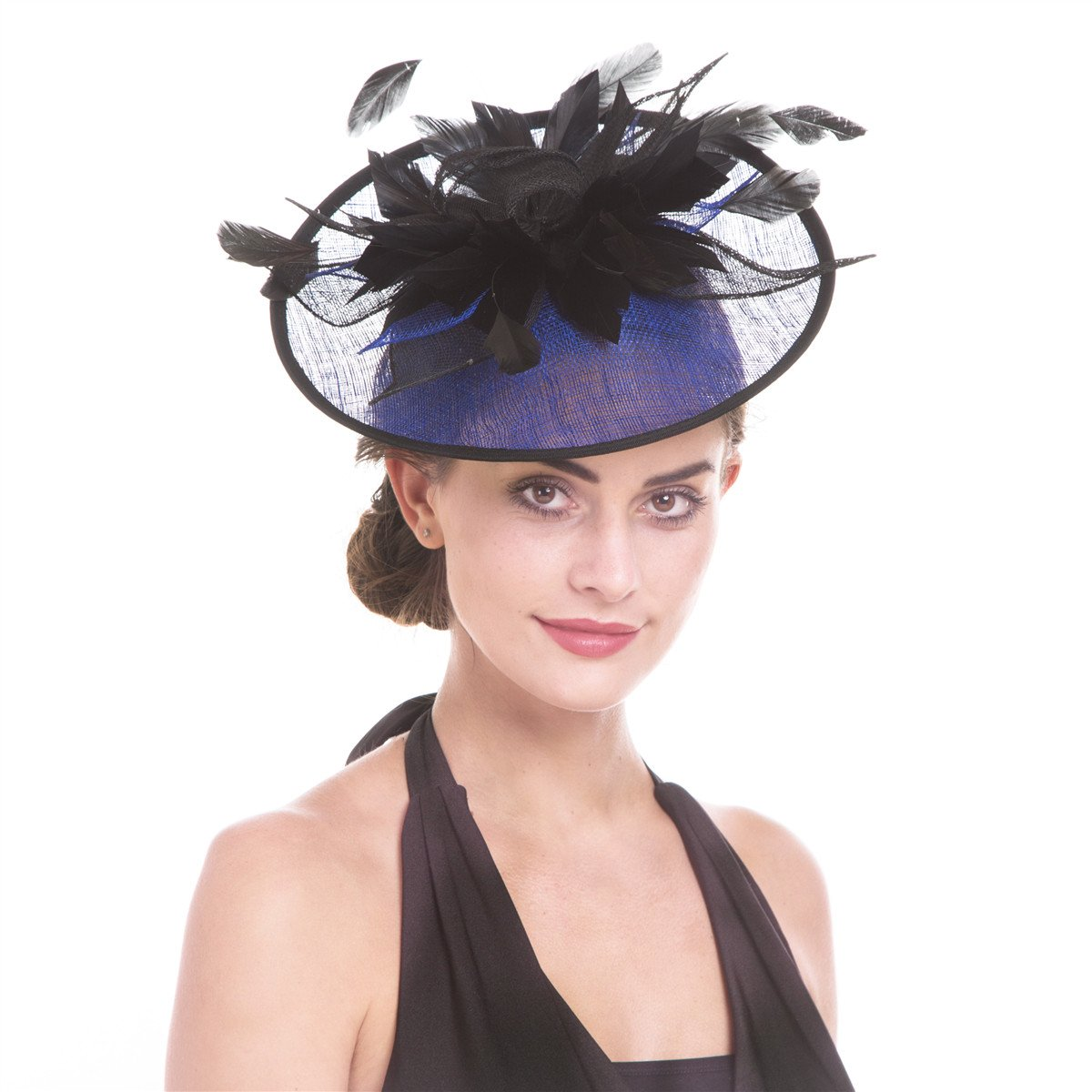 SAFERIN Fascinator Hat Feather Mesh Net Veil Party Hat Flower Derby Hat with Clip and Hairband for Women (TB3-Sapphire Blue/Black)
