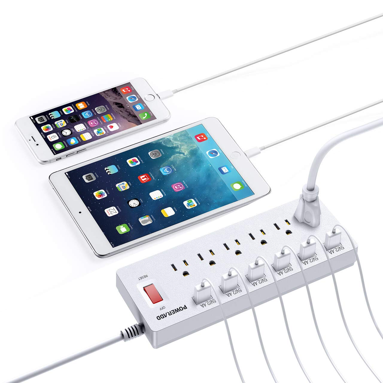 POWERADD Power Strip Surge Protector 6 Outlets  6 Smart USB Charging Ports 6 Heavy Duty Extension