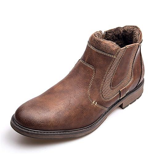 Botas de Cuero para Hombre Zapatos de otoño Invierno Zapatos de Piel Retro con Cremallera Botines Talla Grande Impermeable: Amazon.es: Zapatos y ...