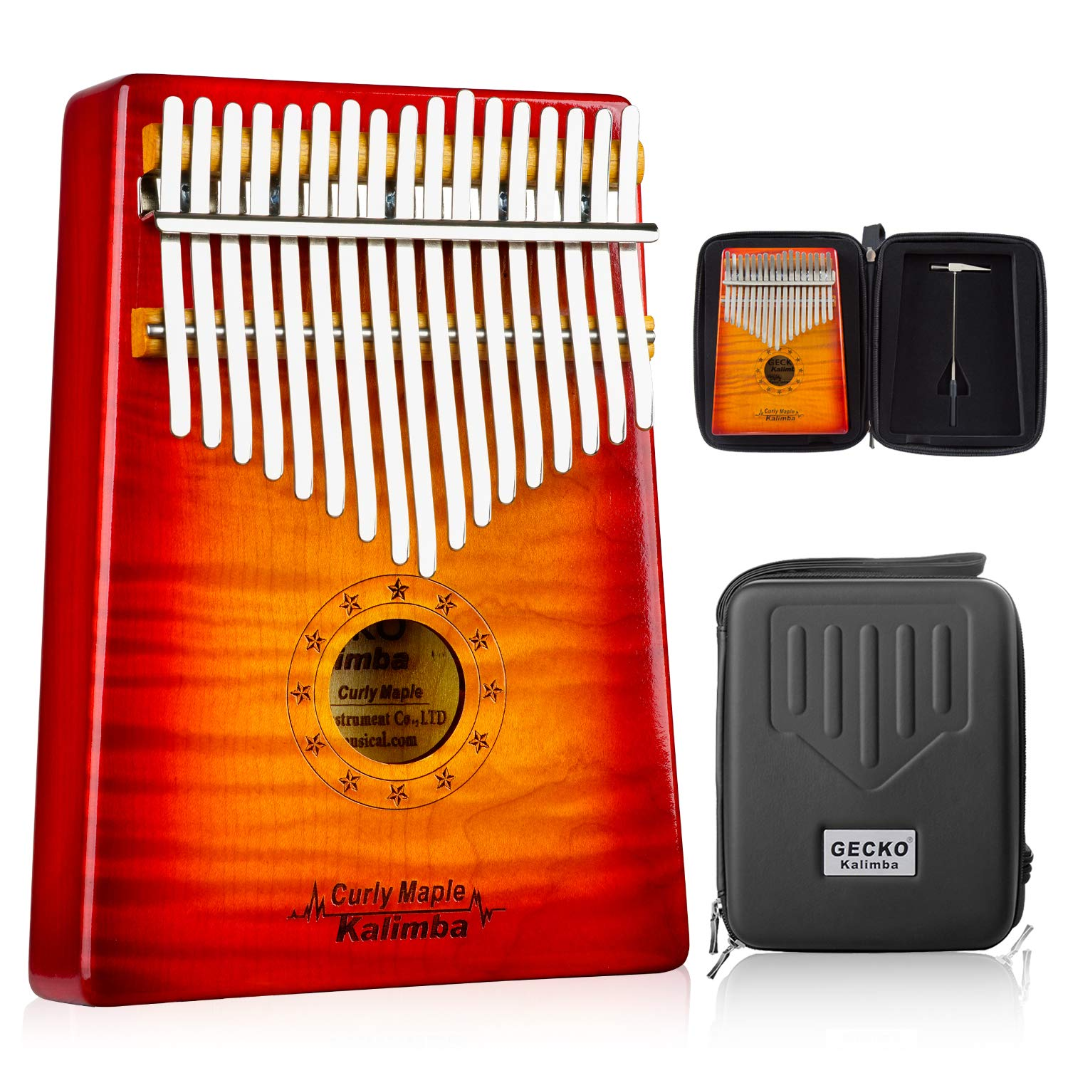 GECKO Kalimba 17 Key Thumb Piano with Hardshell Case Learning Book Tuning Hammer for Kids Adult Beginners C Tone Tuned (Solid Curly Maple) by MYTTLELE