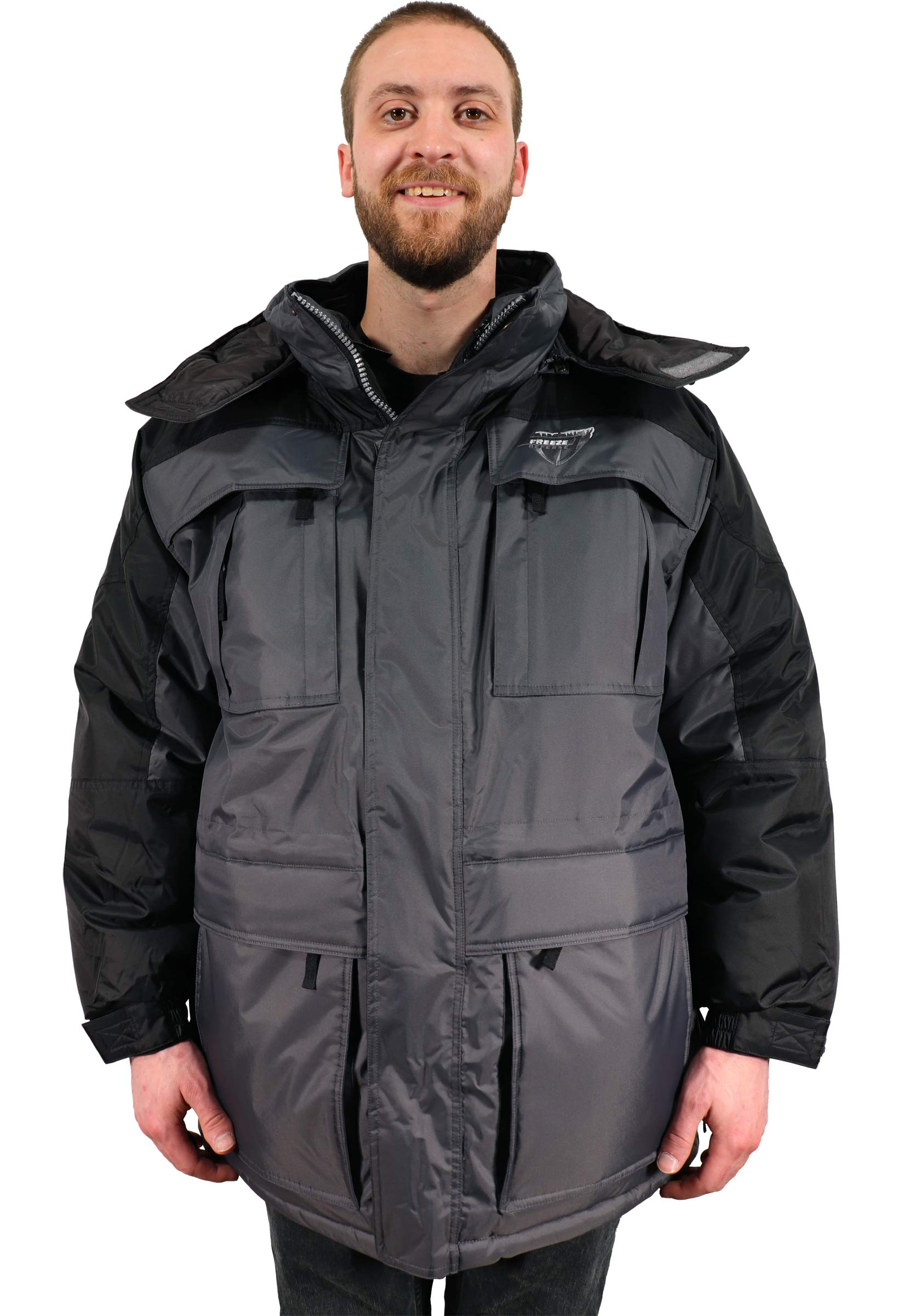 Freeze Defense Mens Big and Tall 3in1 Winter Jacket Coat & Vest (3XL / 3X Gray) by Freeze