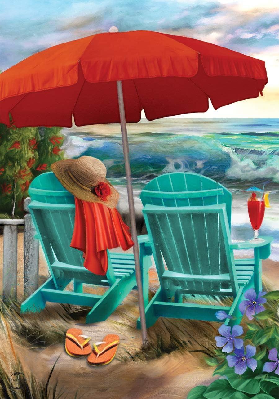 "Briarwood Lane Beach Life Summer Garden Flag Nautical Adirondack Chairs 12.5"" x 18"""