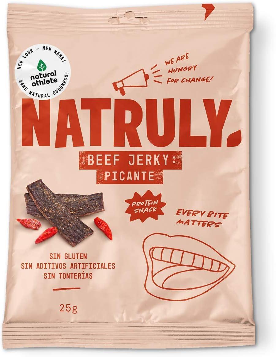 Natural Athlete Beef Jerky Picante Natural Athlete, Carne Seca 100% de Vacuno - 4 Unidades de 25 g, Total: 100 g