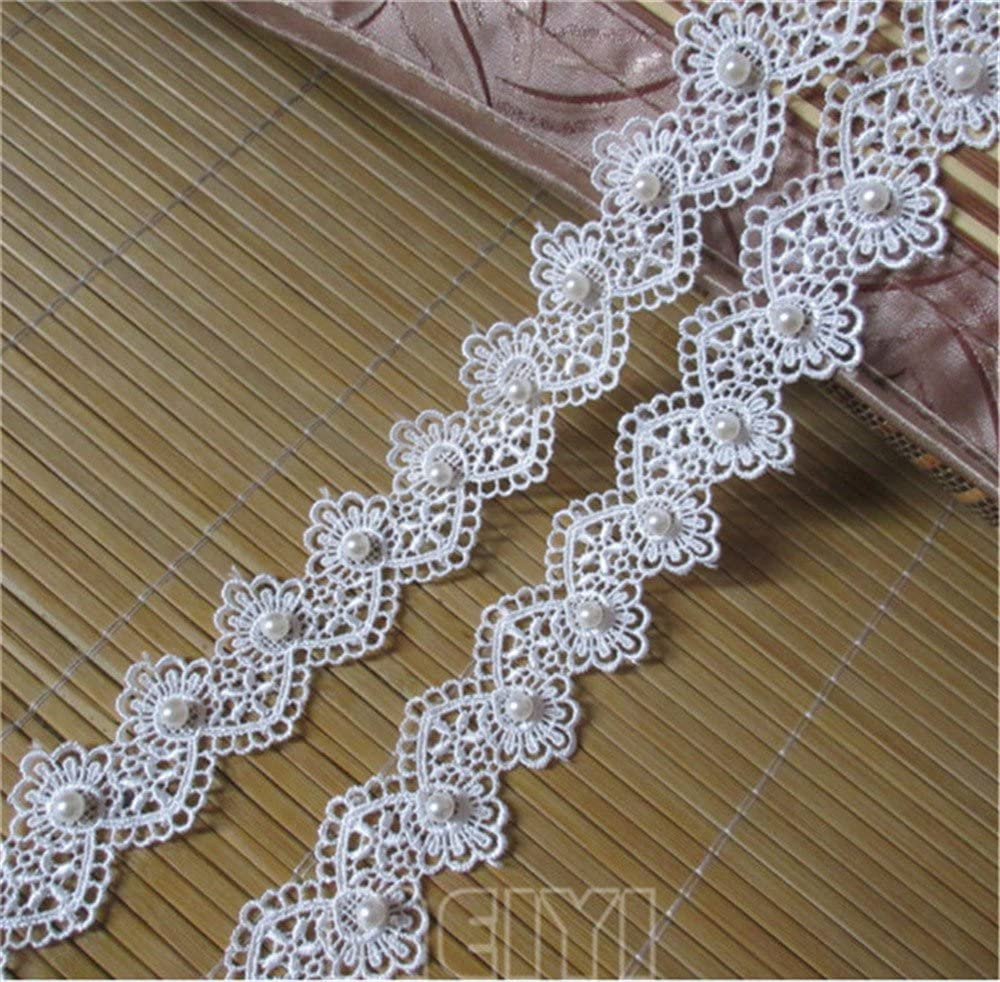 5 Yards Vintage Heart Embroidered Lace Trim Wedding Bridal Dress Sewing Ribbon