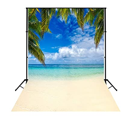 5x7ft Tropical Beach Background Vinyl Photo Backdrops Hawaiian Beach Photographic Wedding Backgrounds Blue Sky White Clouds Props Backgrounds