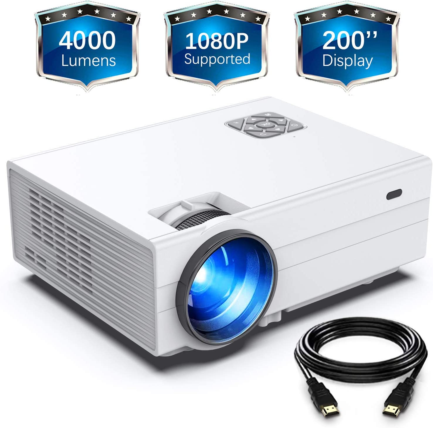"""GIMISONIC Projector, HD 4000 Lux Video Projector with 200"""" Display 60,000 Hrs Led Home Theater Projector Support 1080P,Compatible with Fire TV Stick,PS4, HDMI, VGA, AV and USB"""
