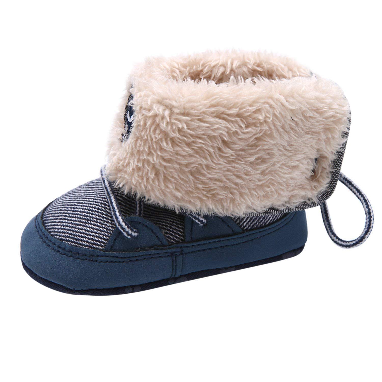 YASSON Unisex Baby Stiefel Warm Winter Futter Weich Rutschfest Lauflernschuhe Lang Kleinkinder Schlupfstiefel