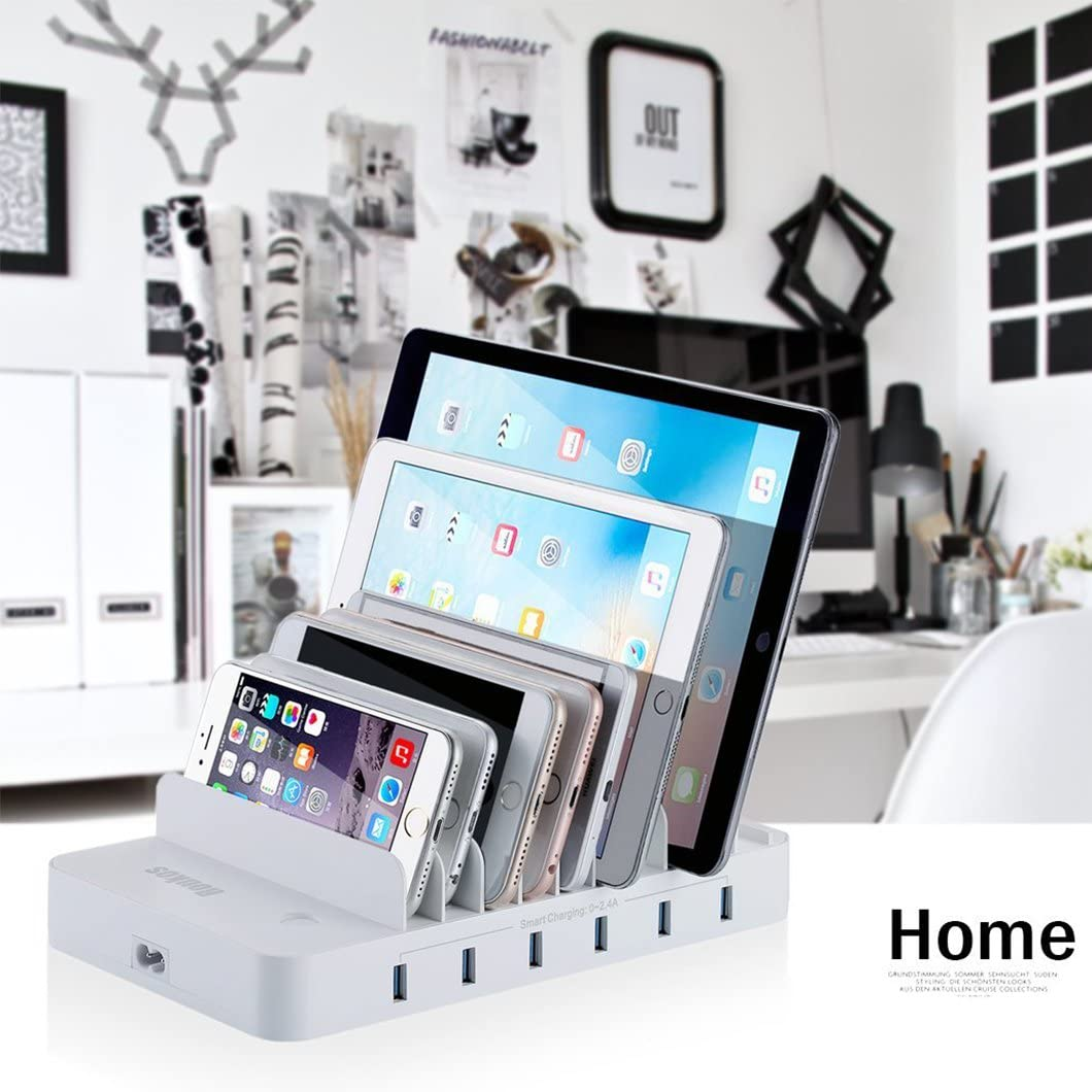10 Ports USB Charging Station for Multiple Devices with Build-in Patented Retractable Charging Cables for iPhone Smart Phone Tablet iPad White