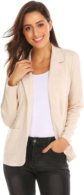 Zeagoo Womens Casual Work Office Blazer Open Front Long Sleeve Cardigan Jacket