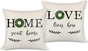 Farmhouse Pillow Covers 18x18,Set of 2 Decorative Throw Pillow Covers,Home Sweet Home Pillow Covers,Love Lives Here Pillow Covers for Farmhouse Decor