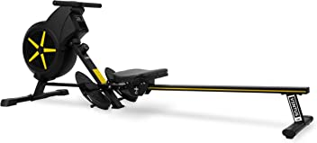 JLL Ventus 1 Air Rower, 2018 Model Rowing Machine Fitness Cardio Workout with Adjustable Dual Resistance, Air and Friction Resistance, 12-Month Warranty, Black and Yellow Colour