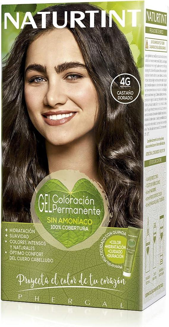 Naturtint | Coloración sin amoniaco | 100% cobertura de canas | Ingredientes vegetales | Color natural y duradero | 4G Castaño Dorado | 170ml