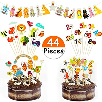 JDYW 44 Piezas Animal Cake Topper Animal Party Banner Set para niños Safari Party Decoraciones cumpleaños Birthday Baby Shower Primeros de la Torta