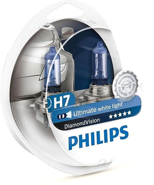 BOMBILLAS DE MEJORA DE FARO PHILIPS DIAMOND VISION H7 5000k: Amazon.es: Coche y moto