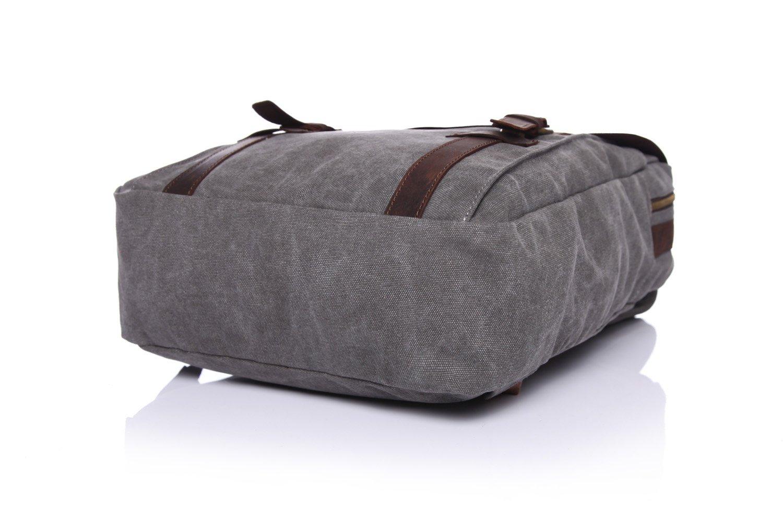 Mens Shoulder Bag Retro Canvas Bag Crazy Horse Leather Leisure Men Bag Shoulder Computer Backpack Color : Gray, Size : M