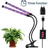Lovebay 12W 36-LEDs(24 Rote,12 Blaue) Pflanzenlicht Wachstumslampe Pflanzenlampe  Dimmbar 5 Lichtstärken  mit Klemmhalterung  3 Modes Timer(3H/6H/12H)  360° Schwanenhals  für Büro,Haus  USB-Adapter