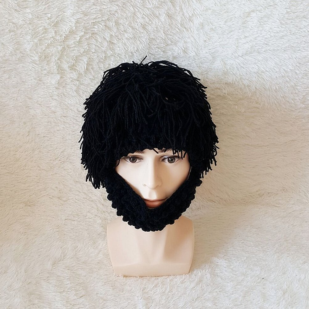 ae23a95a67e Amazon.com  LUOEM Wig Beard Hats Knit Beard Mask Warm Winter Caps Funny Mask  Beanie for Men Women (Grey)  Toys   Games