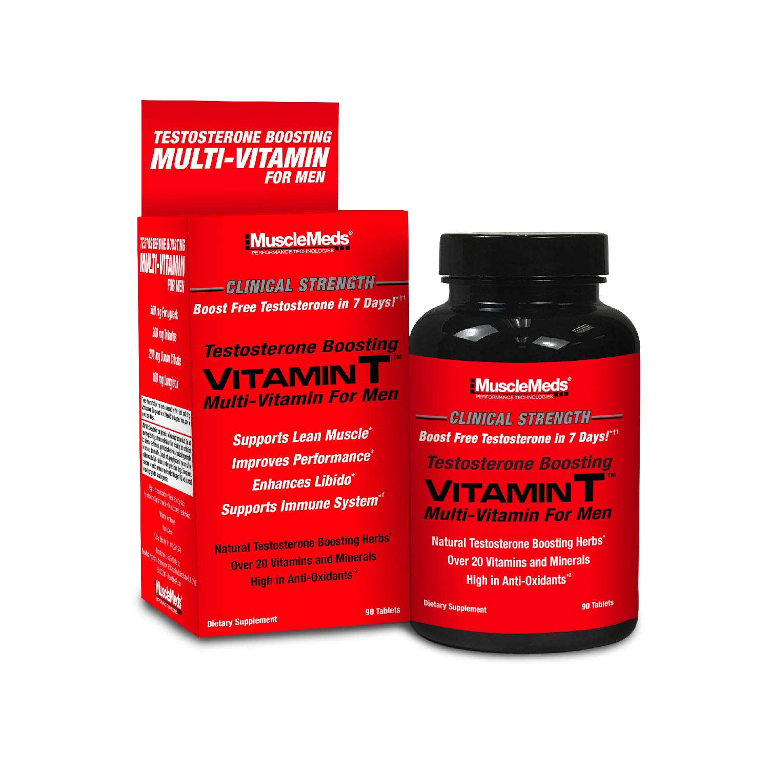 MuscleMeds Vitamin T Daily Complete Multivitamin for Men Enhances Testosterone, Muscle Building & Sexual Performance, 20 Vitamins & Minerals, Fenugreek, Tribulus, Longjack, 90 Count