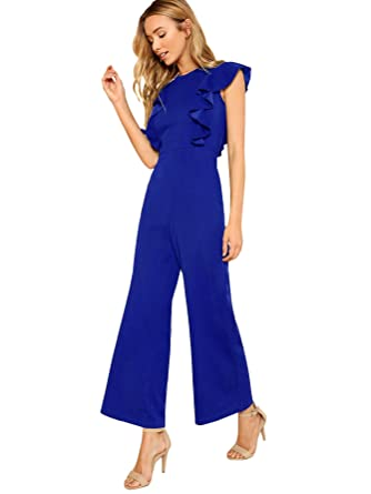 d100c5aa78 Romwe Women s Sexy Casual Sleeveless Ruffle Trim Wide Leg High Waist Long  Jumpsuit Blue XS