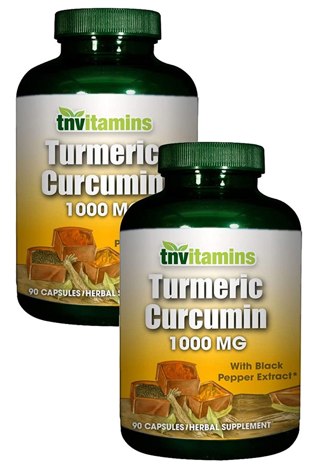 Turmeric Curcumin 1000 Mg with Black Pepper by TNVitamins -180 Capsules 2×90