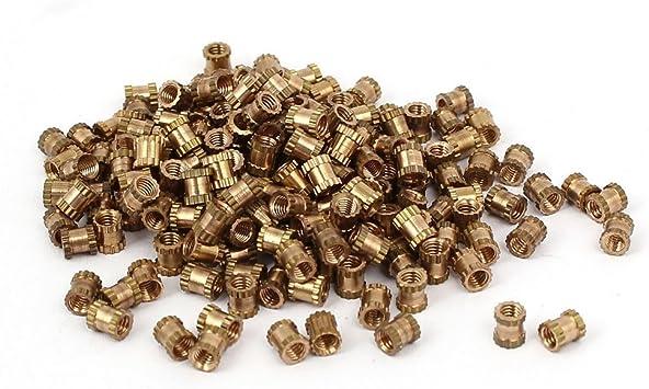 100 Stück M2.5 x 8mm 3.5mm OD Messing Gewindeeinsatz Eingebettete Rändelmutter