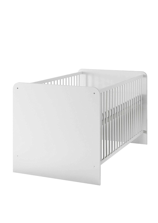 AVANTI TRENDSTORE - Bimbi - Lettino per cameretta da bambini, con rete a doghe regolabile in altezza a 3 posizioni, culla in laminato di colore bianco, senza tenda, dimensioni: LAP 144x80x82 cm