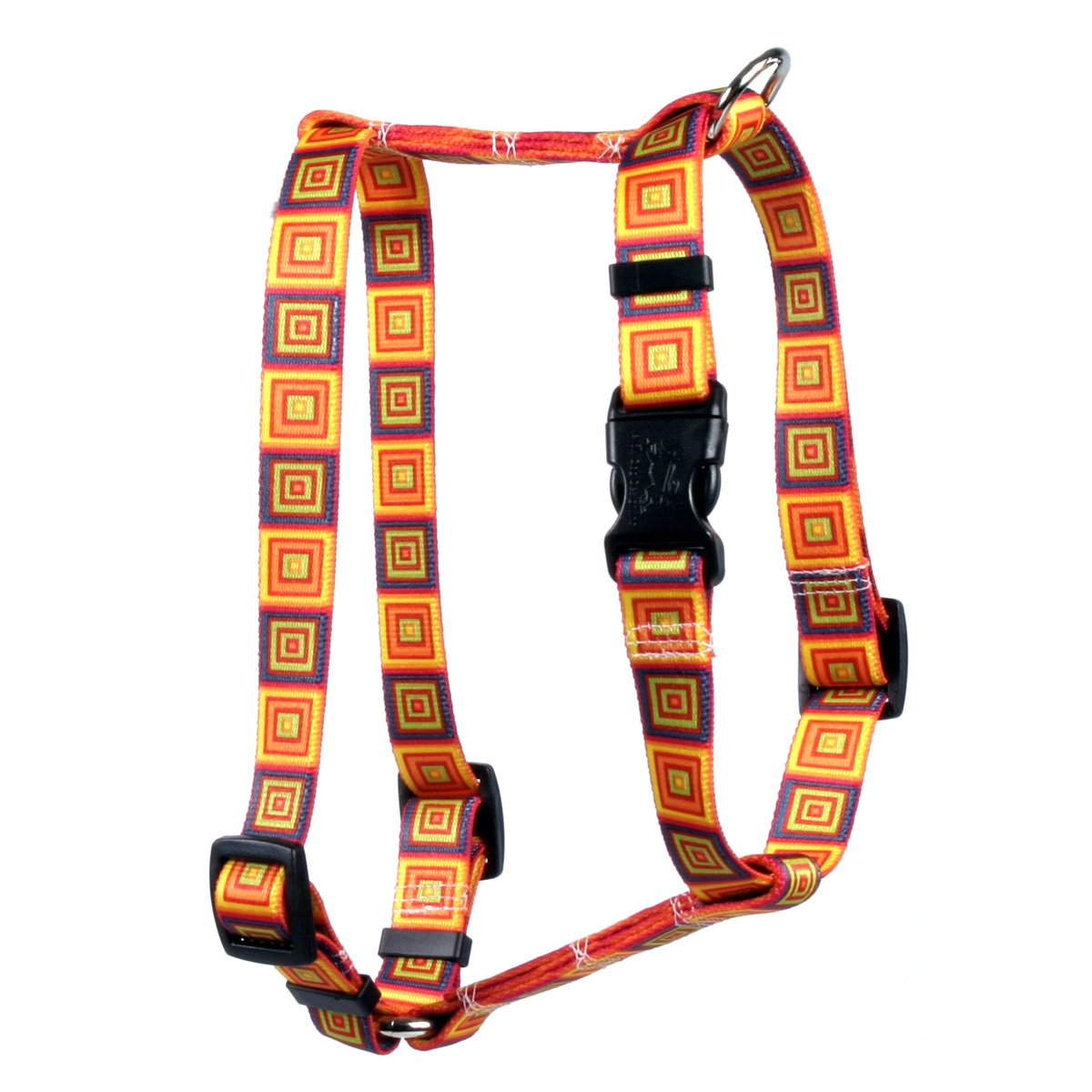 Yellow Dog Design Orange Blocks Roman Style H Dog Harness, Large-1'' Wide and fits Chest of 20 to 28'' by Yellow Dog Design