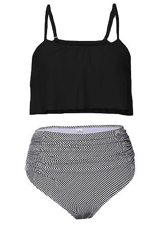e947186742836 Women Vintage Swimsuits Halter Straps High Waisted Bikini Set Two Piece  Bathing Suits Beach Tummy Control