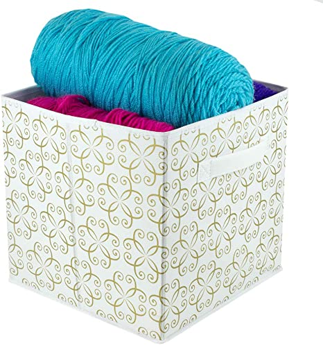 Amazon Com Home Basics Dra Metallic Curlz Non Woven Storage Bin Cube Basket Box Dual Handles Removable Bottoms Collapsible Foldable For Home Decor Office Closet Bedroom Drawer Toy Organizer Everyday Use Gold Home
