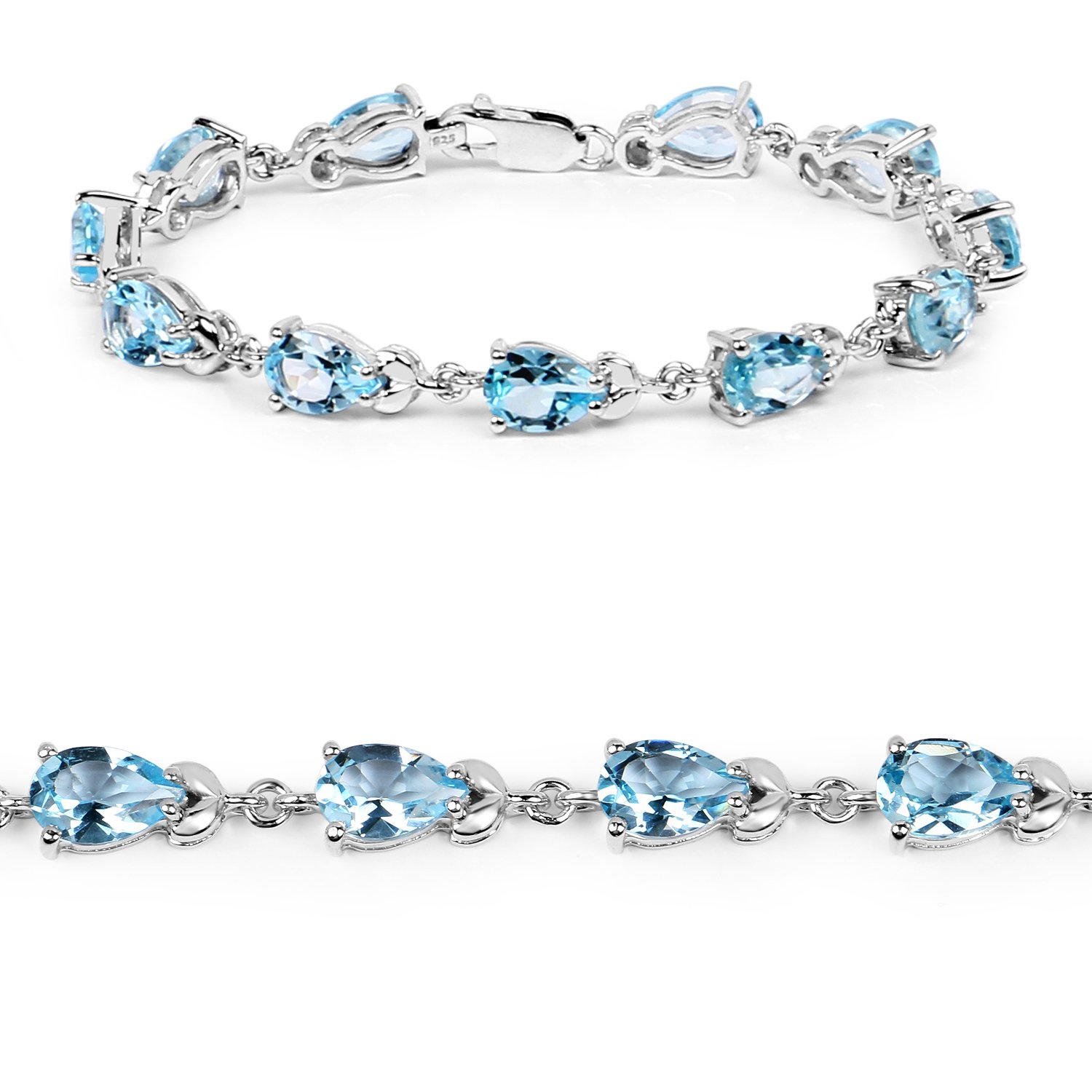 Johareez 14.30 Cts Blue Topaz .925 Sterling Silver Rhodium Plated Bracelet For Women