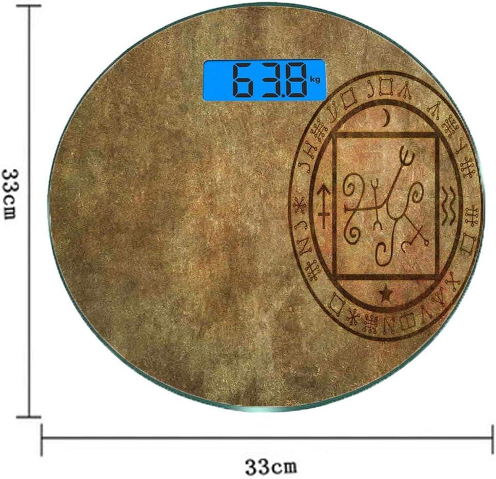 Escala digital de peso corporal de precisión Ronda Decoración oculta Báscula de baño de vidrio templado ultra delgado Mediciones de peso precisas,Icono de sello de sello oculto místico con textura ant: Amazon.es: