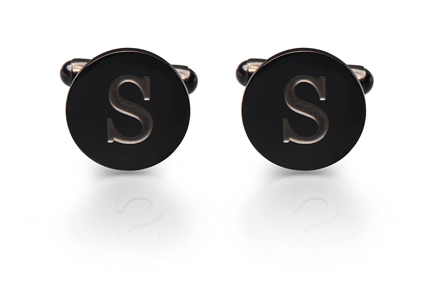 Men's Cobalt Black Engraved Initial Cufflinks with Gift Box– Premium Quality Personalized Alphabet Letter