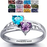 Engagement Ring Promise Ring For Her Couples 2 Heart Birthstones 2 Names and 1 Engraving Customized and Personalized