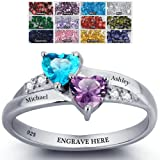 Amazon Price History for:Engagement Ring Promise Ring For Her Couples 2 Heart Birthstones 2 Names and 1 Engraving Customized and Personalized