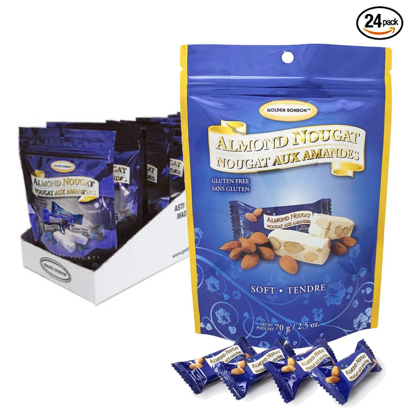 Golden Bonbon Gluten Free Almond Nougat Chewy Candy 2.5oz, 24 Packs (Original Soft)