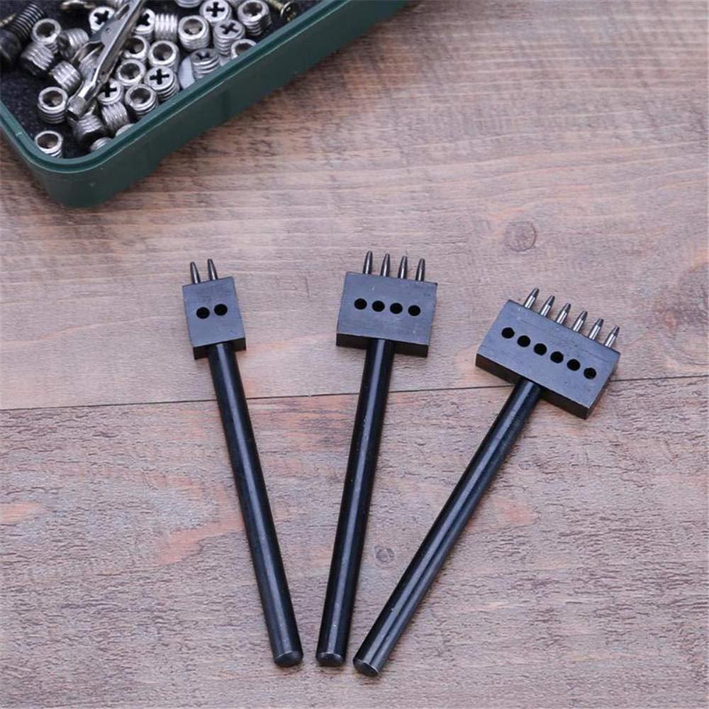 3 Unids//Set 5Mm Perforadora De Cuero Herramienta De Perforaci/ón Artesanal De Cuero Perforadora Perforadora De Cuero Agujero De Separaci/ón Ronda Fila Perforadora-Negro