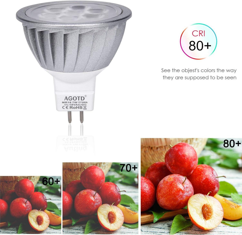 AGOTD GU5.3 MR16 Led Lampe 12V Warmweiß 7W, 50W GU5,3 Halogenlampe Äquivalent,7 Watt GU 5,3 Sockel Glühlampen, Kein Flimmern,Hohe Kompatibilität, 2700K,50mm Durchmesser,Aluminium,560LM, 6er Pack Aluminium Warmweiß 2700k