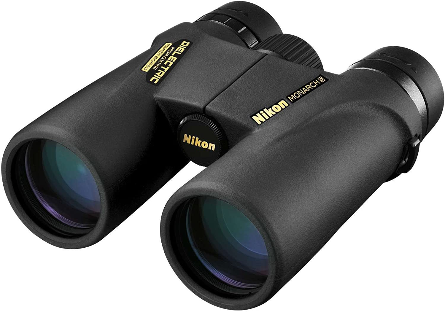 Photo of a shiny black nikon binoculars with brand name printed in yellow color at the center.