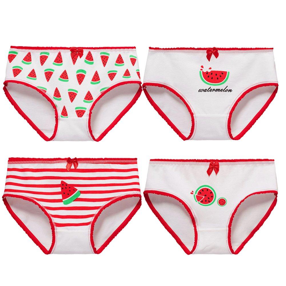 Goodkids Little Big Girls Breathable Cotton Lace/&Bowknot Briefs Underwear Watermelon Hipster Panties